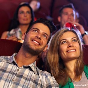 Couple enjoying a movie at the Chatham Orpheum Theater