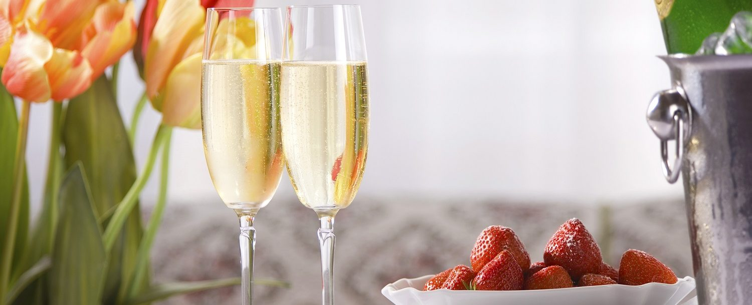 Spring still life with champagne
