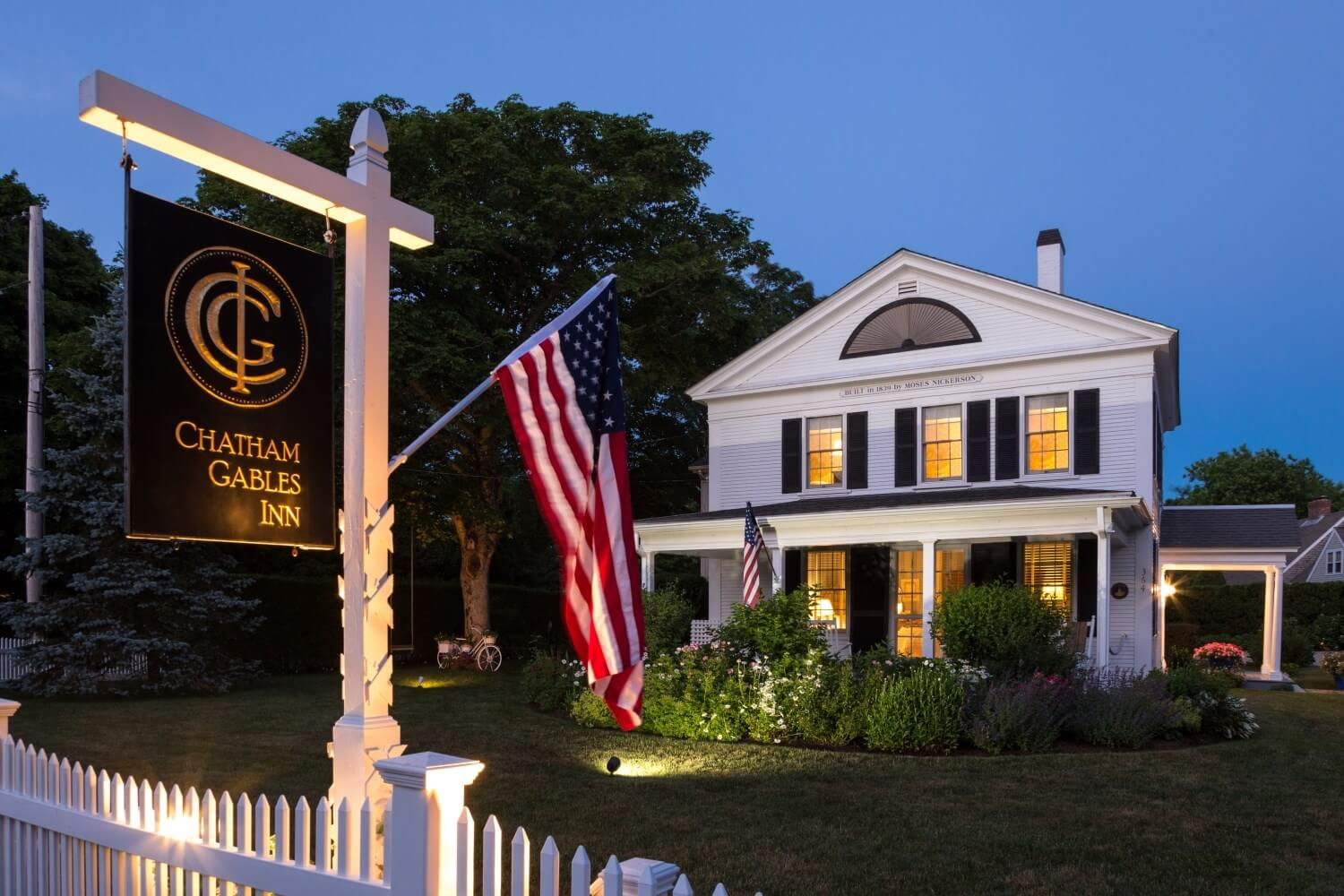Chatham Gables Inn Exterior at Dusk