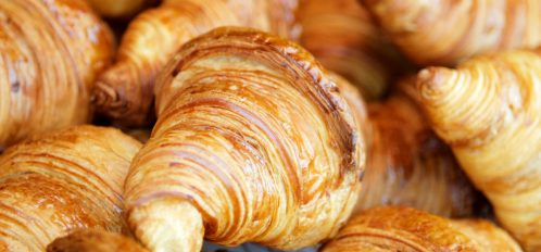 Close up view of buttery French Croissants at PB Boulangerie and Bistro