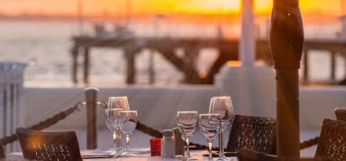 Outdoor dining on Cape Cod at sunset